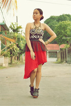 tribal print H&M top - wooden clog Jellybean boots - sheer peplum DIY skirt