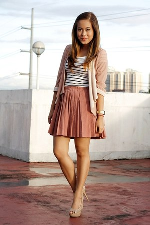 salmon pleated Paint Me Colourful skirt - white stripes H&amp;M dress