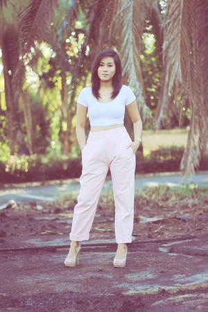 light pink high waist American clothing co pants - white midriff Bazaar top