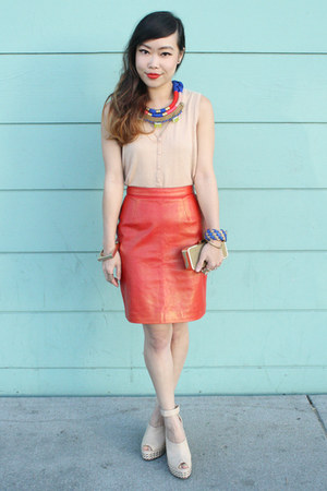red Tannery West skirt - blue isis necklace Holst  Lee necklace