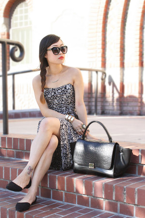 gold Haute1 bracelet - black contempo casual dress - black OASAP bag