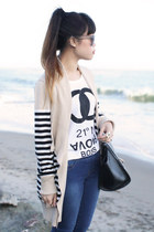 beige striped sweater Red sweater - black OASAP bag