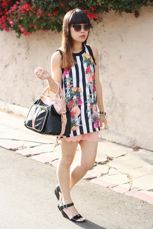 black PERSUNMALL top - black Steve Madden bag - peach shorts