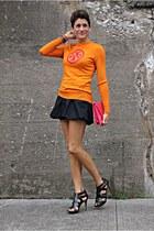 orange tory burch sweater - hot pink bag - black Armani Exchange skirt