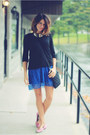 Blue-dress-black-sweatshirt-bubble-gum-flats