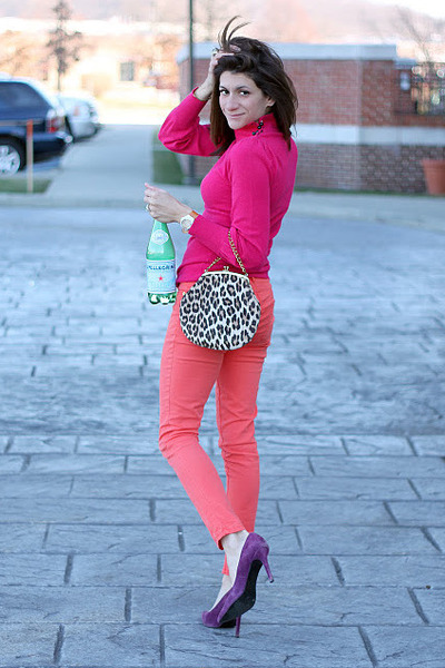 salmon pants - hot pink sweater - deep purple heels