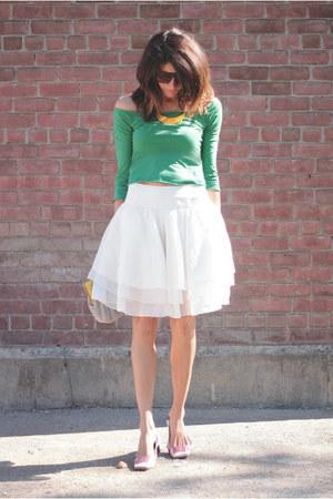 ivory Ralph Lauren skirt - Emilio Pucci shoes - green shirt