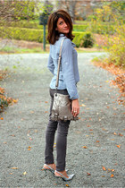 chambray Mossimo shirt - charcoal gray animal print Gap jeans