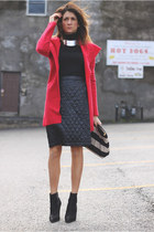 black Kurt Geiger boots - red Anthropologie jacket - black Uniqlo skirt
