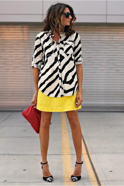 calvin klein shirt - vintage skirt - Jeffrey Campbell heels