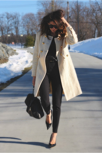 cream milly coat - black American Apparel pants