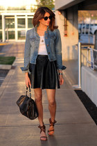 denim jacket - faux leather skirt - Chloe heels