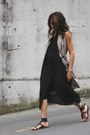 Black-alexander-wang-dress-tan-banana-republic-dress