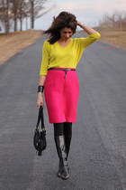 yellow Gap skirt - hot pink quilted vintage skirt