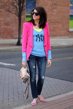 bubble gum asos blazer - yankee jeans - bubble gum seychelles flats