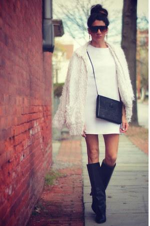 white Topshop dress - black Manolo Blahnik boots - white vintage jacket