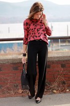 animal print Forever 21 sweater - black high waisted Forever 21 pants