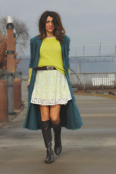 lace dress - neon sweater