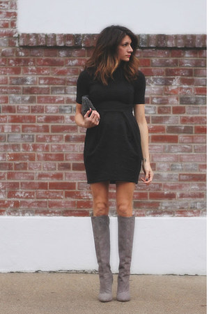 heather gray brian atwood boots - black H&M dress