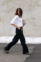 white vintage shirt - navy Zara pants
