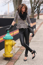striped peplum shirt - faux leather pants