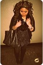 dark gray lace Forever 21 dress - black leather Forever 21 jacket - black sparkl