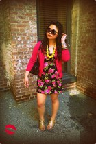 hot pink Betsey Johnson dress - hot pink banana republic cardigan - yellow kate