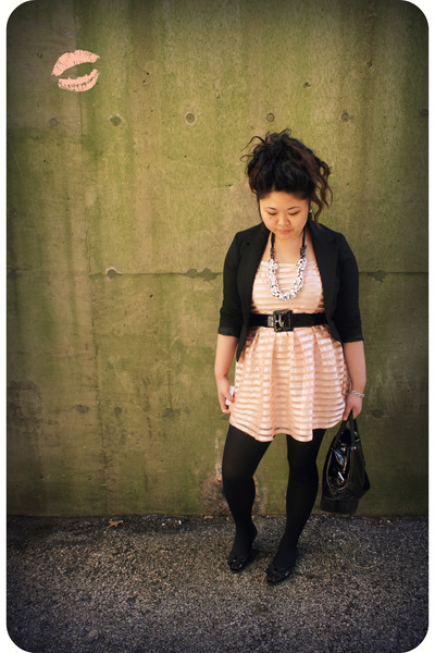 pink H&amp;M dress - black H&amp;M blazer - black kate spade accessories - black kate sp