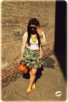 green Armani Exchange skirt - beige Zara cardigan - brown kate spade accessories
