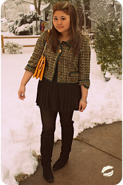 black otk suede Nine West boots - forest green kate spade jacket - mustard kate