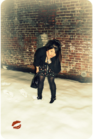 black Ellen Tracy blazer - black H&amp;M skirt - black Steve Madden boots - black ka