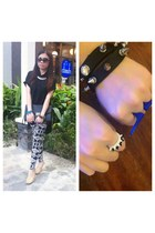 black Forever 21 sunglasses - navy SM GTW pants - beige comfit heels