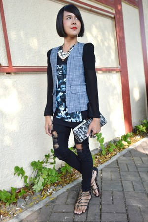 What A Girl Wants blazer - Forever 21 jeans - graphic tee Chaps shirt