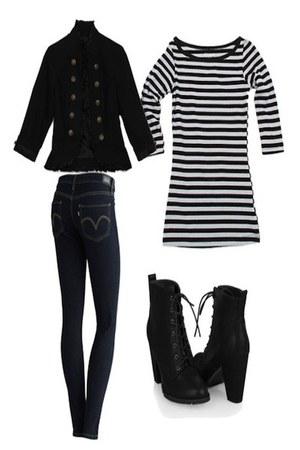 black Forever 21 boots - navy Kohl jeans - black Guess blazer - black Forever 21