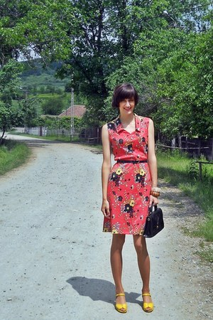 red custom made dress - black vintage bag - yellow asoscom sandals
