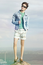Topman shoes - denim Topman jacket - Topman shorts - Topman t-shirt