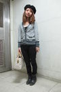 Gray-cardigan-black-pants-black-boots