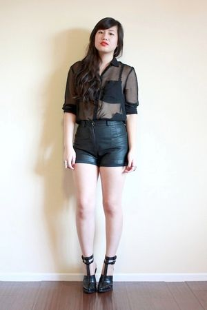 black sheer H&amp;M blouse - black abbey sandals Alexander Wang shoes