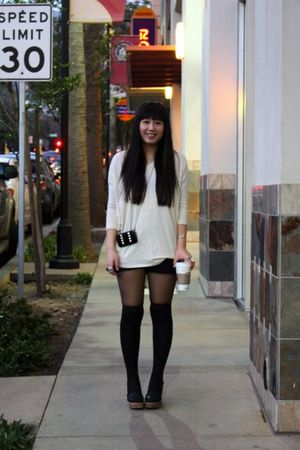 beige H&M top - black Forever 21 shorts - black Jeffrey Campbell shoes - black M