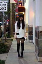 beige H&M top - black Forever 21 shorts - black Jeffrey Campbell shoes - black M