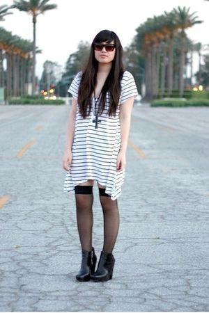 white H&M dress - black Forever 21 sunglasses - black American Apparel socks - b
