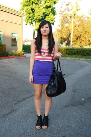 Forever 21 top - H&M skirt - H&M necklace - H&M purse - Dolce Vita shoes