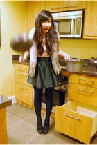 pink H&M top - green H&M skirt - brown Forever 21 vest - black Juicy Couture sho