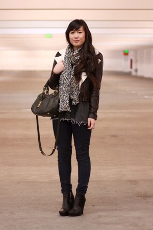 black zoe sam edelman boots - dark brown Forever 21 jacket