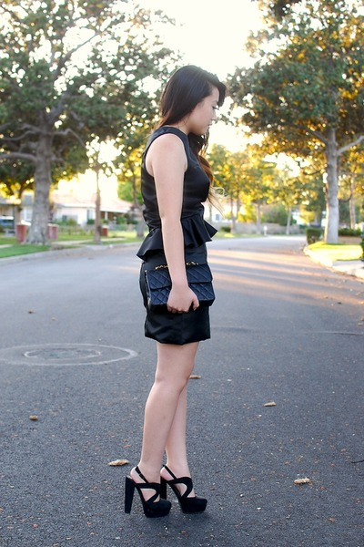 black Forever 21 shoes - black satin peplum edressycom dress