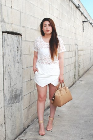 nude antigona Givenchy purse - nude heels Zara shoes - white skort Zara shorts