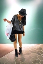 forever 21 shirt - forever 21 shorts - H&M purse - forever 21 boots - forever 21