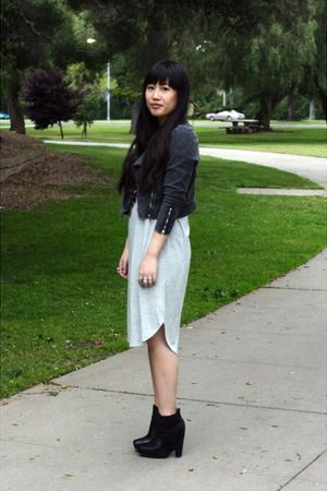 gray H&M dress - gray H&M jacket - black sam edelman boots