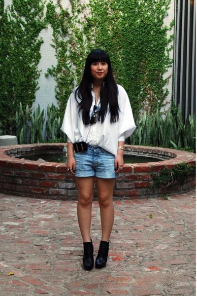 black zoe sam edelman boots - white butterfly wing Tart shirt