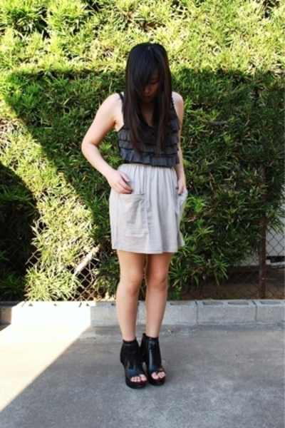 forever 21 top - American Apparel skirt - forever 21 boots - Hot Topic bracelet
